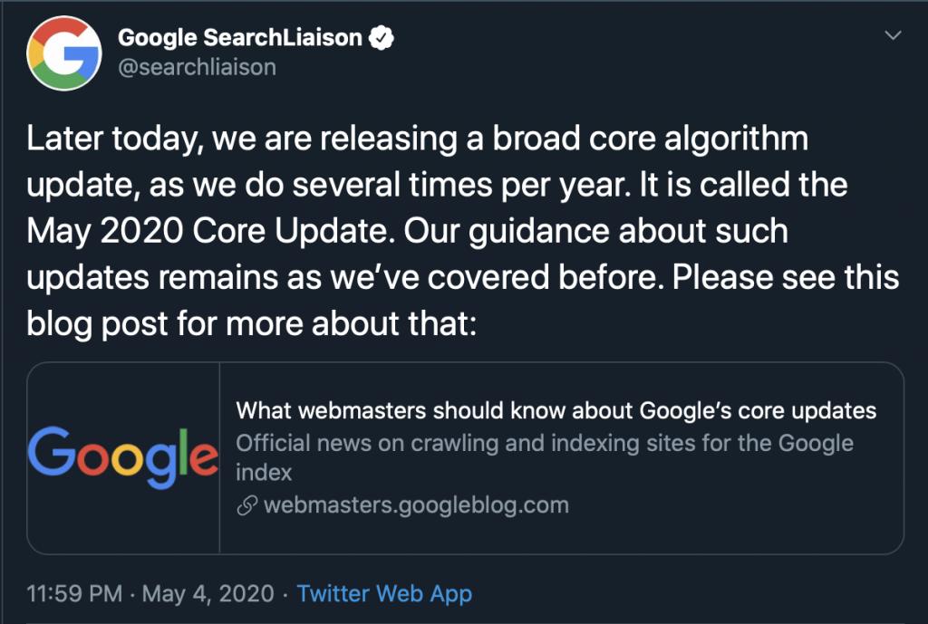 Google's Tweet
